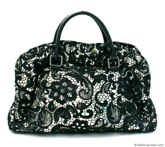 :Inspired by Prada: Large Oversized Lace Handbag Tote-Black & Gold