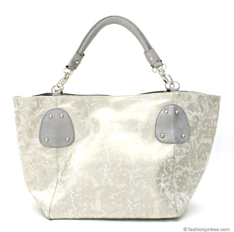 :Inspired by Prada: Large Oversized Lace Print Tote-Silver/Gold & White :  handbag bag gold oversized