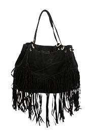 Large Oversized Boho Fringe Faux Suede Purse-Black (20% OFF!)