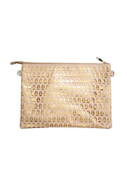 Patent Laser Cut Clutch-Nude & Gold