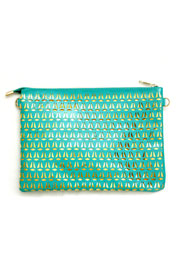 Patent Laser Cut Clutch-Teal & Gold