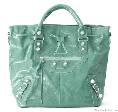 :Inspired by Balenciaga: Oversized Tall Drawstring Motorcyle Bag-Aqua :  handbag buckle bag tassles