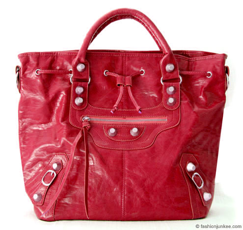 :Inspired by Balenciaga: Oversized Tall Drawstring Motorcyle Bag-Fuschia :  handbag buckle bag tassles