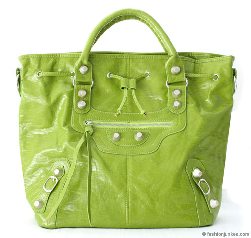 :Inspired by Balenciaga: Oversized Tall Drawstring Motorcyle Bag-Lime Green :  handbag bag tassles celebrity