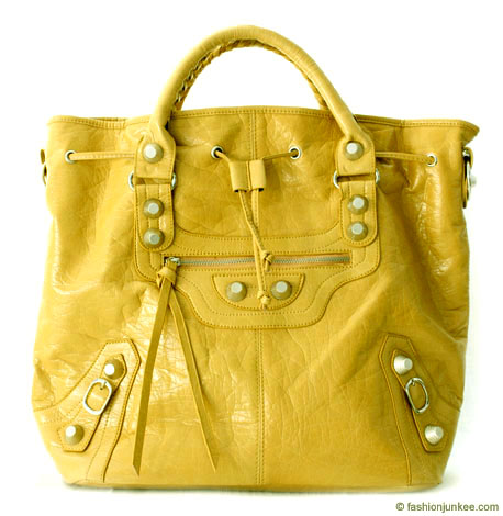 :Inspired by Balenciaga: Oversized Tall Drawstring Motorcyle Bag-Mustard :  handbag buckle bag tassles