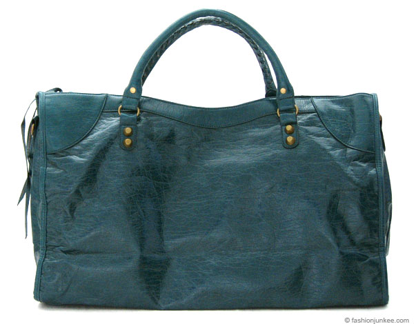 :Inspired by Balenciaga: Oversized Large Tassle Motorcyle Bag (EXTRA LARGE SIZE)-Teal Blue