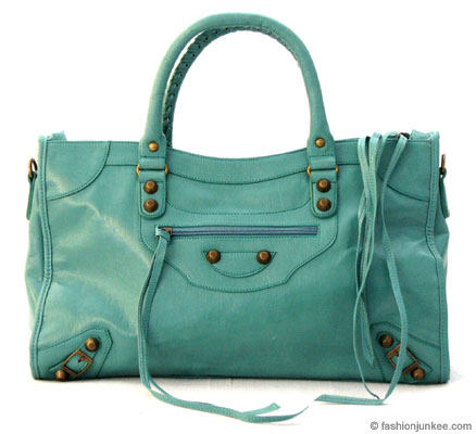 :Inspired by Balenciaga: Oversized Large Tassle Motorcyle Bag-Aqua Blue :  blue buckle bag tassles