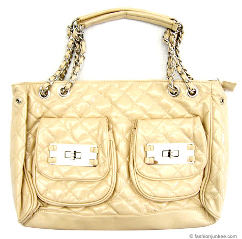 :Inspired by Chanel: Quilted Patent Handbag with Chain Strap-Beige