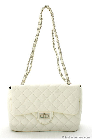 :As Seen in PEOPLE MAGAZINE and LIFE & STYLE Magazine: Faux Leather Quilted Purse with Chain Strap-White :  faux leather handbag faux leather purse quilted purse turnlock purse quilted back chain purse white purse handbags