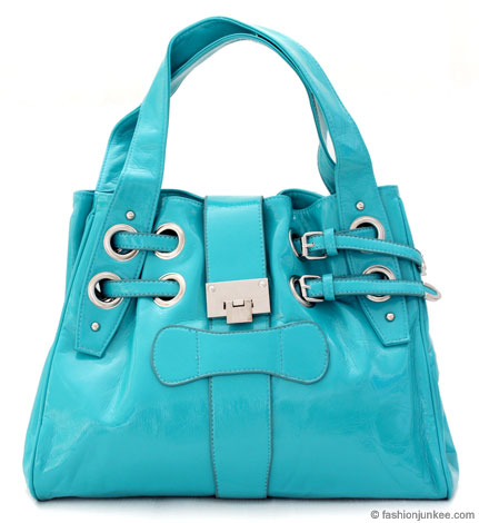 :Inspired by Jimmy Choo: Oversized Patent Ramona Drawstring Handbag-Turquoise from fashionjunkee.com