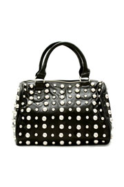 Round Studded Handbag Purse, Messenger Strap-Black