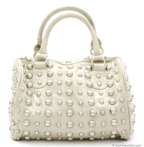 :Inspired by Gucci: Round Studded Handbag Purse, Messenger Strap-Grey from fashionjunkee.com