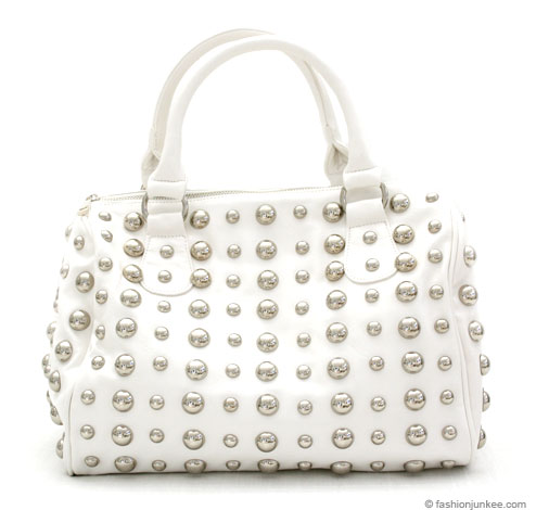 :Inspired by Gucci: Round Studded Handbag Purse, Messenger Strap-White