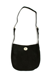 Basic Simple Buckle Hobo Messenger Bag, Cross Body Purse-Black