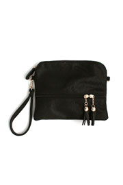 Small Tassle Crossbody Messenger Clutch Purse-Black
