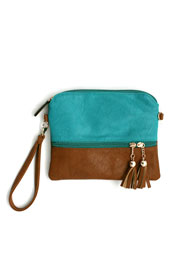 Small Two Tone Tassle Crossbody Messenger Clutch Purse-Blue & Brown