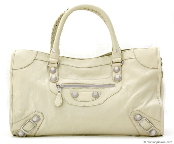 :Inspired by Balenciaga: Textured Studded Oversized Large Motorcyle Bag-Beige :  handbag buckle bag tassles