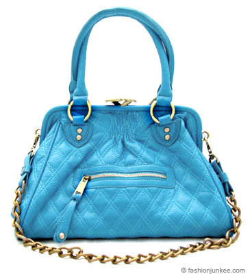 :Inspired by Marc Jacob: Oversized, Large STAM Quilted Chain Handbag-Aqua Blue