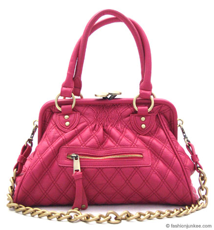:Inspired by Marc Jacob: Oversized, Large STAM Quilted Chain Handbag-Fuschia