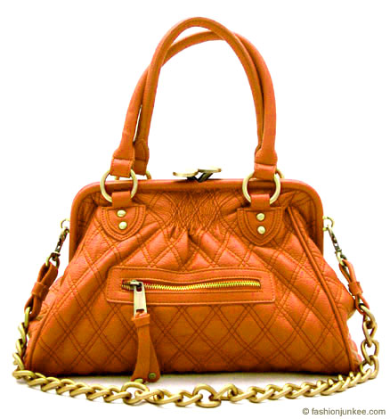 :Inspired by Marc Jacob: Oversized, Large STAM Quilted Chain Handbag-Orange