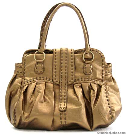 :As Seen in PEOPLE MAGAZINE: Oversized Contrast Stitch Bag-Metallic Bronze