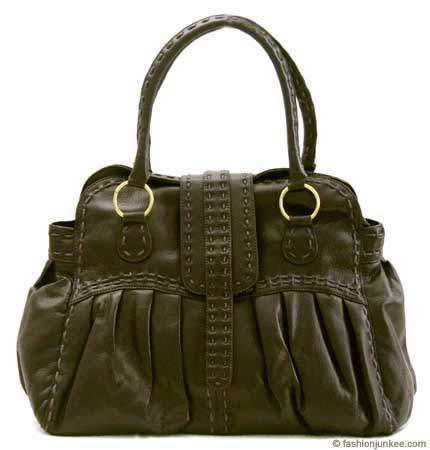 :As Seen in PEOPLE MAGAZINE: Oversized Contrast Stitch Bag-Dark Brown :  oversized bag large bag stitch purse stitch bag brown purse handbags