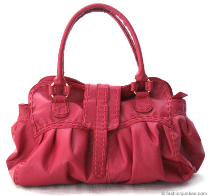 :As Seen in PEOPLE MAGAZINE: Oversized Contrast Stitch Bag-Fuschia :  oversized bag large bagstitch purse stitch bag fuschia purse handbags