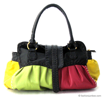 :Inspired by Valentino: Multi-colored Patchwork Contrast Stitch Bag-Lime Green, Fuschia & Black