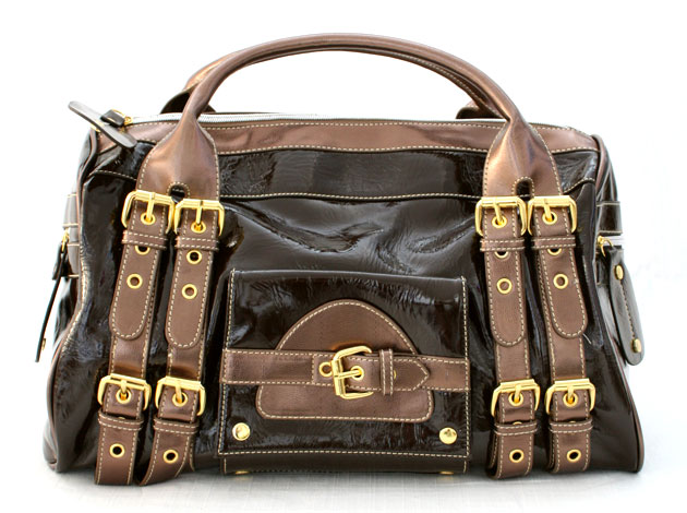:Inspired by Versace: Strappy Buckle Large Oversized Patent Handbag-Brown :  handbag strappy buckle bag