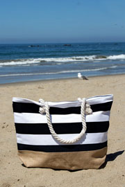Thick Striped Canvas Tote with Burlap Bottom-Black (50% OFF - NO CODE NEEDED)