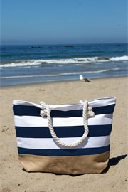 Thick Striped Canvas Tote with Burlap Bottom-Navy Blue (50% OFF - NO CODE NEEDED)