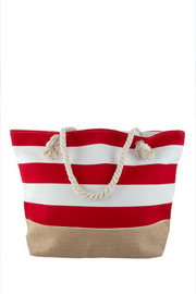 Thick Striped Canvas Tote with Burlap Bottom-Red (50% OFF - NO CODE NEEDED)