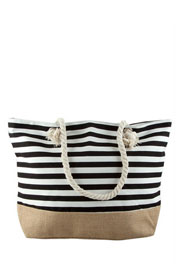 Thin Striped Canvas Tote with Burlap Bottom-Black (50% OFF - NO CODE NEEDED)