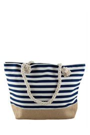 Thin Striped Canvas Tote with Burlap Bottom-Navy Blue (50% OFF - NO CODE NEEDED)