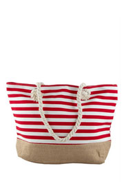 Thin Striped Canvas Tote with Burlap Bottom-Red (50% OFF - NO CODE NEEDED)