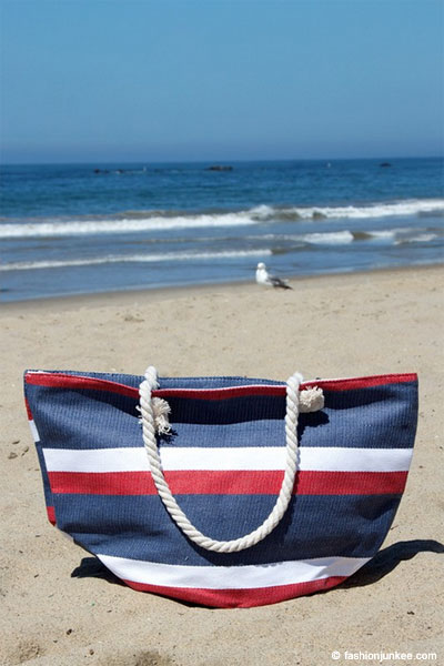 Striped Multi-Color Canvas Tote-Red White and Blue (50% OFF - NO CODE NEEDED)