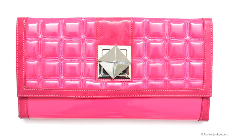 :As Seen in PEOPLE MAGAZINE: Large Oversized Patent Stud Clutch-Fuschia