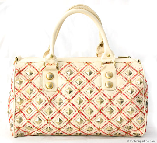 :As Seen in PEOPLE MAGAZINE: Large Fauxe Leather Studded Bag with Embroidered Floral Stitching-Beige