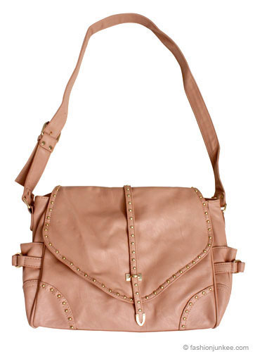 Studded Flapover Long Strap Cross Body Messenger Purse-Pink