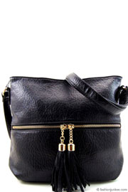 Faux Leather Tassel Messnger Purse-Black