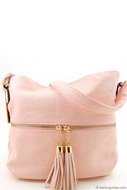 Faux Leather Tassel Messnger Purse-Pink