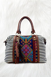 FLASH SALE: Bohemian Striped Tribal Print Handbag with Feather Detail-Black