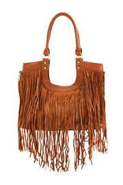 Boho U Shape Fringe Faux Suede Purse with Messenger Strap-Camel Brown
