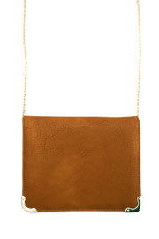 Small Cross Body Purse, Wallet with Gold Chain Strap-Camel Brown