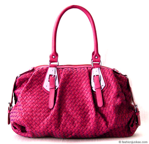 :Inspired by Bottega Veneta: Oversized Large Wide Woven Handbag Tote-Fuschia