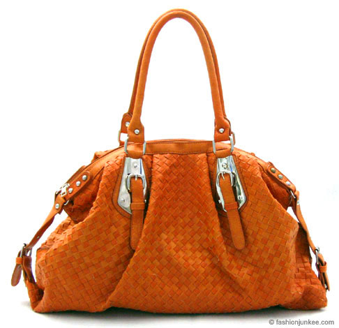 :Inspired by Bottega Veneta: Oversized Large Wide Woven Handbag Tote-Orange