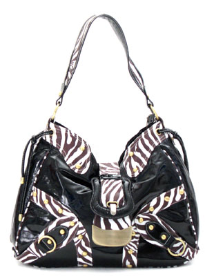 Patent Fauxe Leather Zebra Print Oversized Buckle Purse-Black