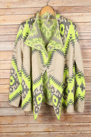 Extra Thick Tribal Aztec Geometric Print Open Front Cardigan Jacket-Neon Yellow, Grey & Beige