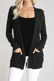 Knit Open Front Sweater Basic Cardigan with Pockets-Black