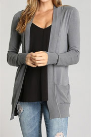 Knit Open Front Sweater Basic Cardigan with Pockets-Grey